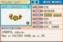 Pokemon Ash Gray (beta 3.61) - Menus Pokemon Team - OMG! I ran into a shiny Geodude. - User Screenshot